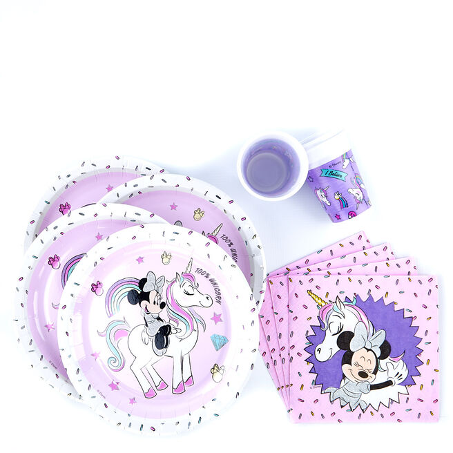 Minnie Mouse & Unicorn Party Tableware Bundle - 36 Pieces