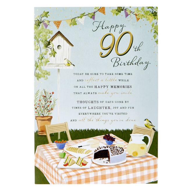90th Birthday Card - Garden Picnic