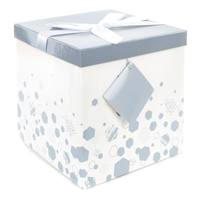 Large Flat-Pack Gift Box - Silver Hexagons