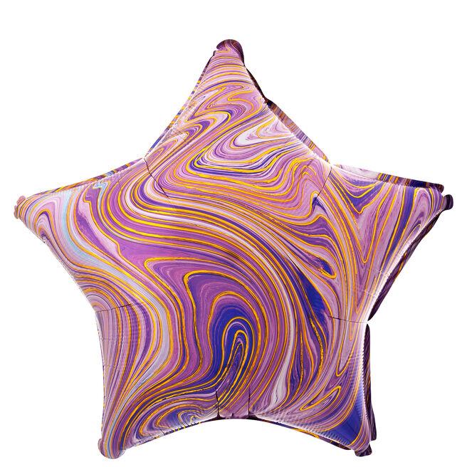 Purple Star Marble-Effect 19-Inch Foil Helium Balloon