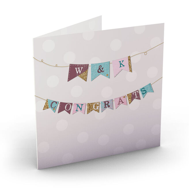 Personalised Congratulations Card - Initials & Bunting