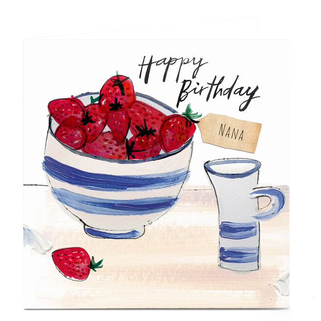 Personalised Emma Valenghi Birthday Card - Strawberries