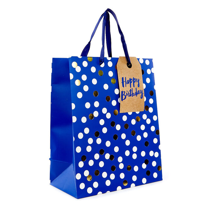 Medium Portrait Gift Bag - Blue Spots, Happy Birthday