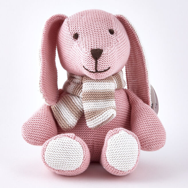 Tiny Treasures Pink & Cream Rabbit with Scarf