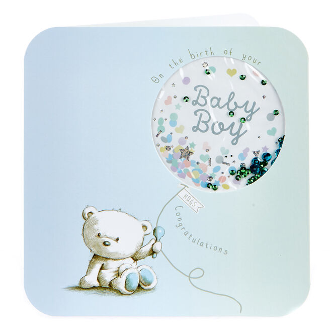 Boutique Collection Hugs Bear New Baby Card - Boy