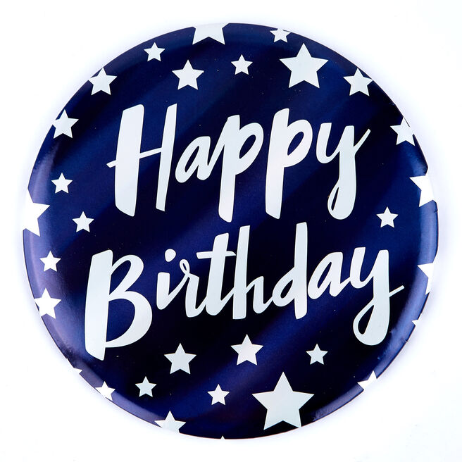 Giant Happy Birthday Badge - Blue & White Stars