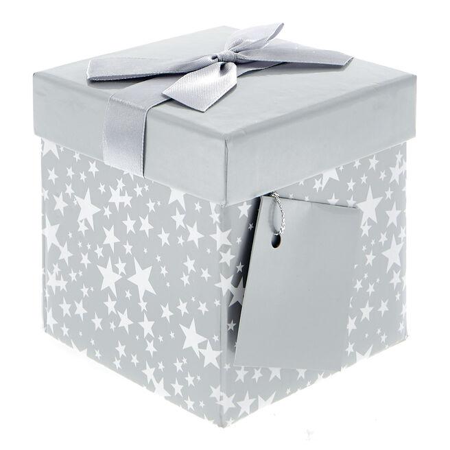 Small Flat-Pack Gift Box - Silver & White Stars