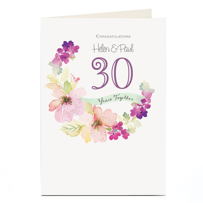 Personalised Anniversary Card - Watercolour Flowers