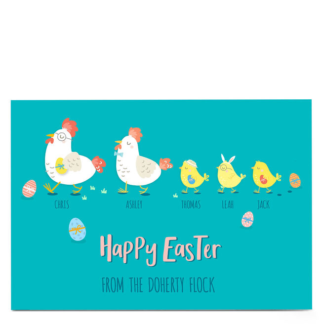 Personalised Easter Card - Family Of 5