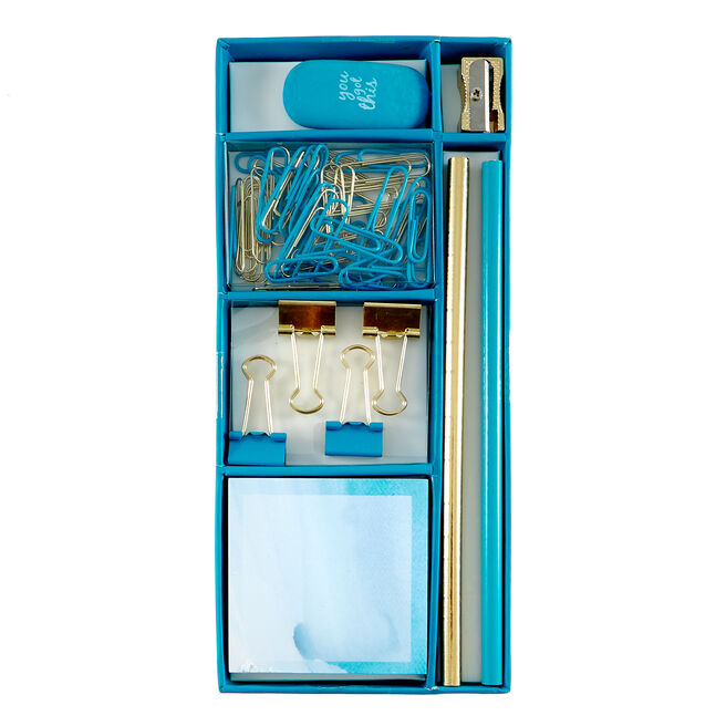 Blue Watercolour Mini Stationery Set