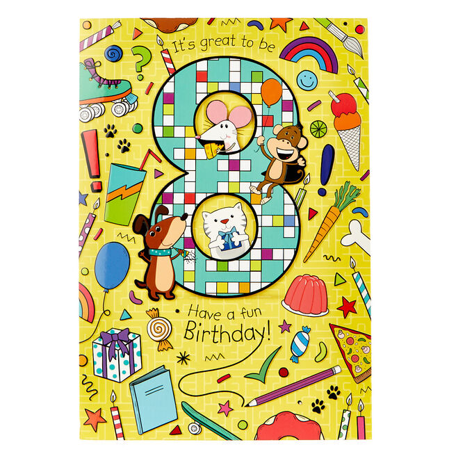 8th Birthday Card - Fun Activities Inside!