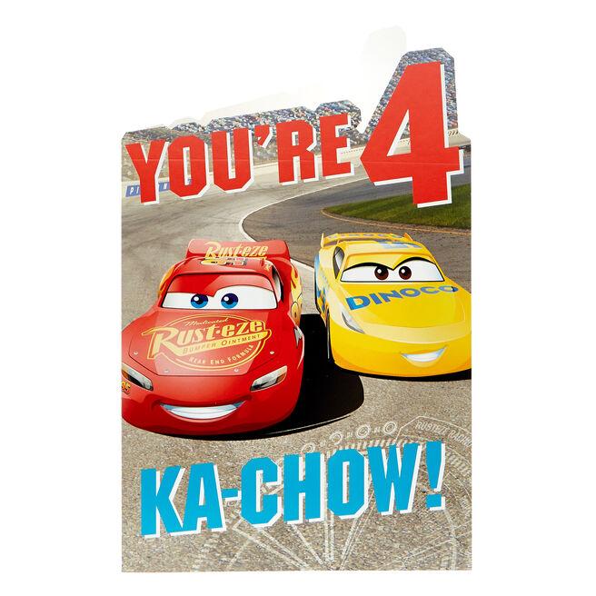 Cars 4th Birthday Card