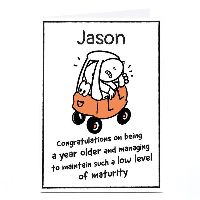 Personalised Scrawls Birthday Card - A Year Older