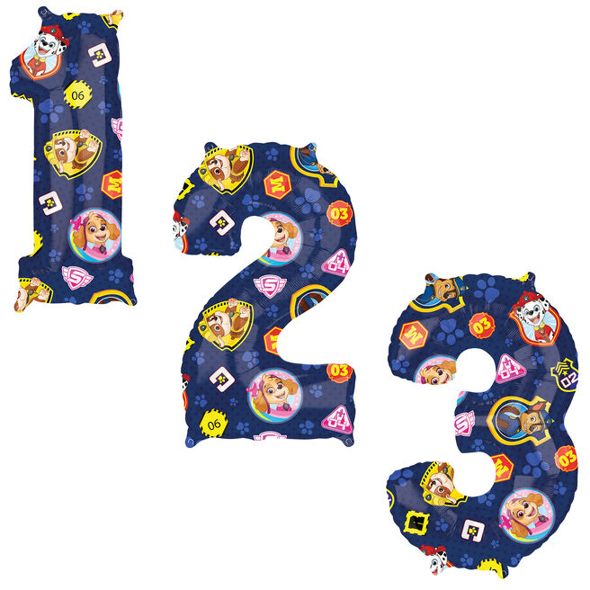 Paw Patrol 34-Inch Number Balloons 1-6 - DEFLATED
