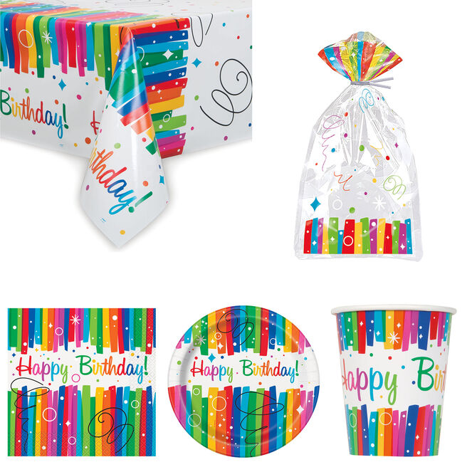 Rainbow Ribbons Birthday Tableware & Decorations - 16 Guests