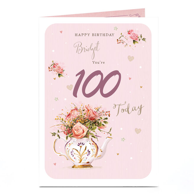 Personalised Any Age Birthday Card - Floral Tea Pot