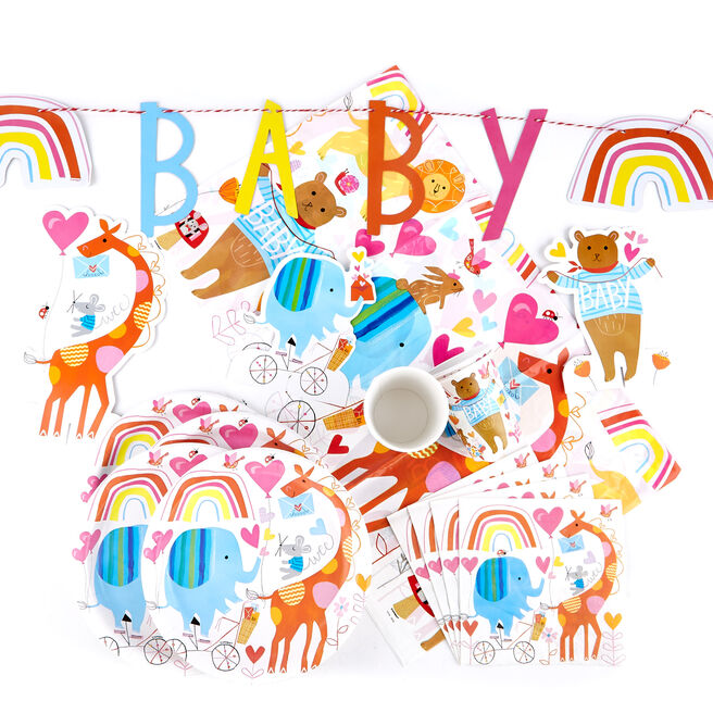 Zoo Baby Party Tableware & Decorations Bundle - 72 Pieces