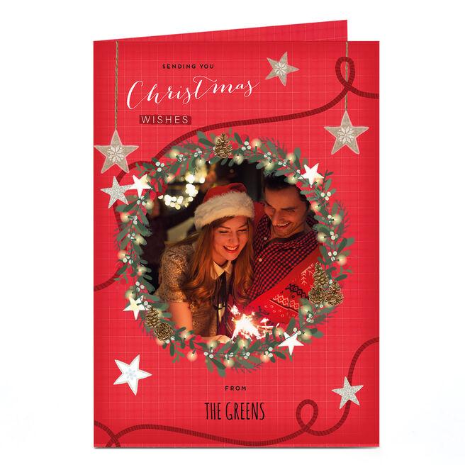 Photo Christmas Card - Family Name & Wreath