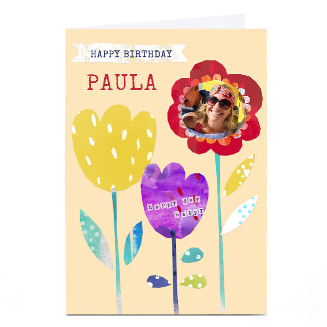 Personalised Kerry Spurling Birthday Card - Floral Photo