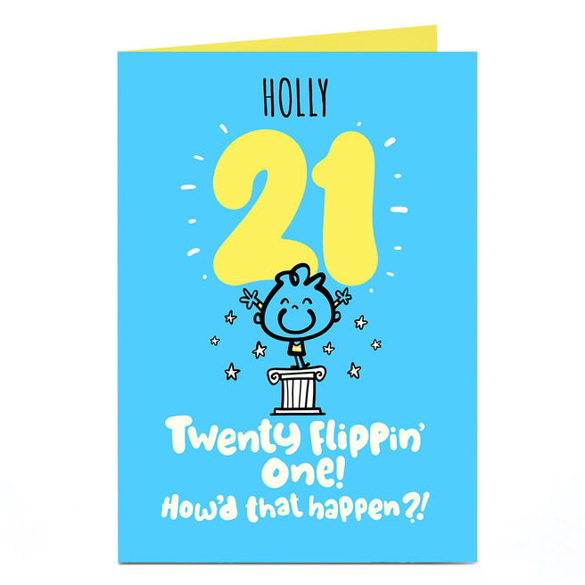 Personalised  Fruitloops 21st Birthday Card - How'd That Happen?! Blue