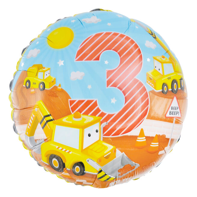 Diggers 3rd Birthday 18-Inch Foil Helium Balloon
