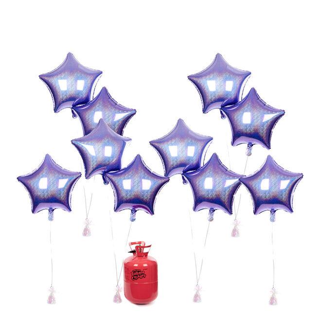 Party Balloon Bundle - 10 Lilac Stars & Helium