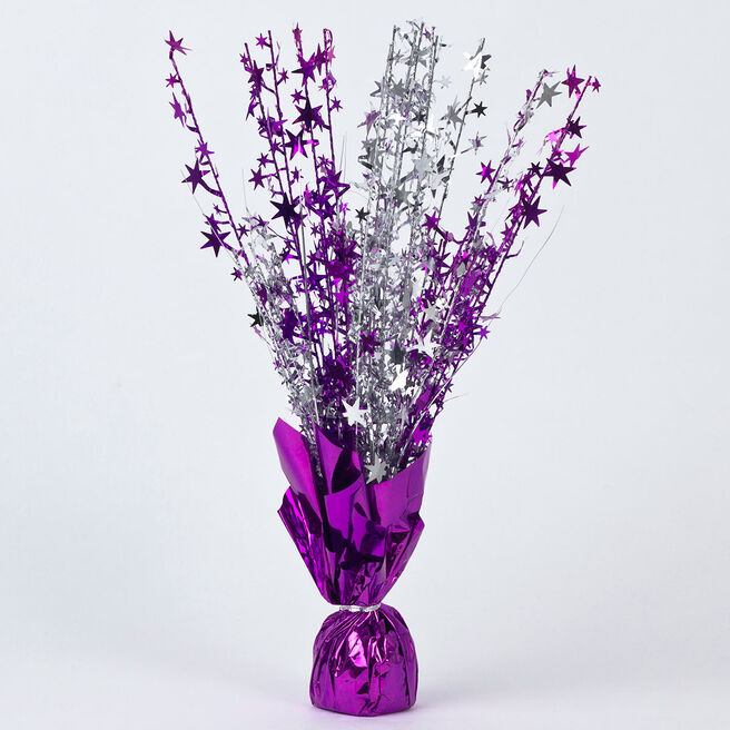 Purple Star Foil Balloon Weight Centrepiece