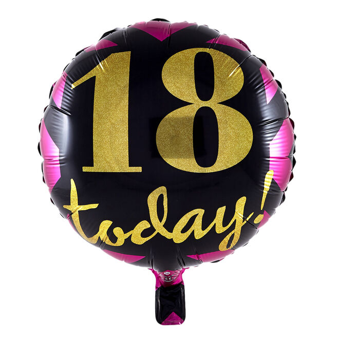 18 Today Pink, Gold & Black Foil Helium Balloon