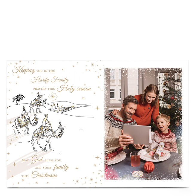 Photo Christmas Card - May God Bless You