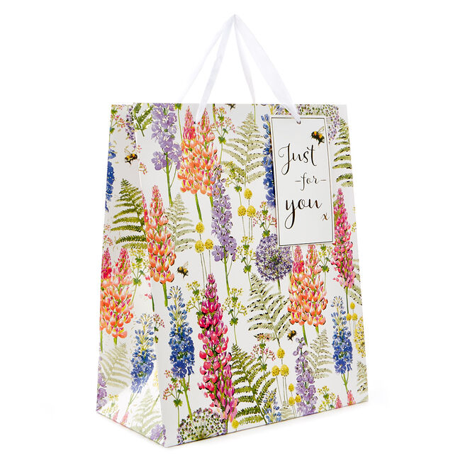 Medium Portrait Gift Bag - Floral, Just For You