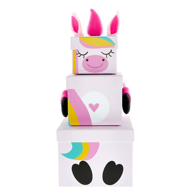 Stackable Plush Unicorn Gift Boxes - Set of 3