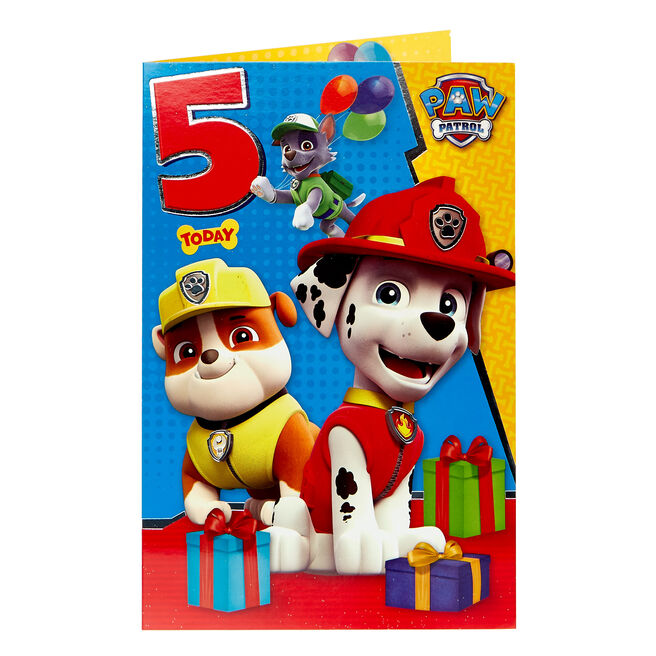 Paw Patrol 5th Birthday Card
