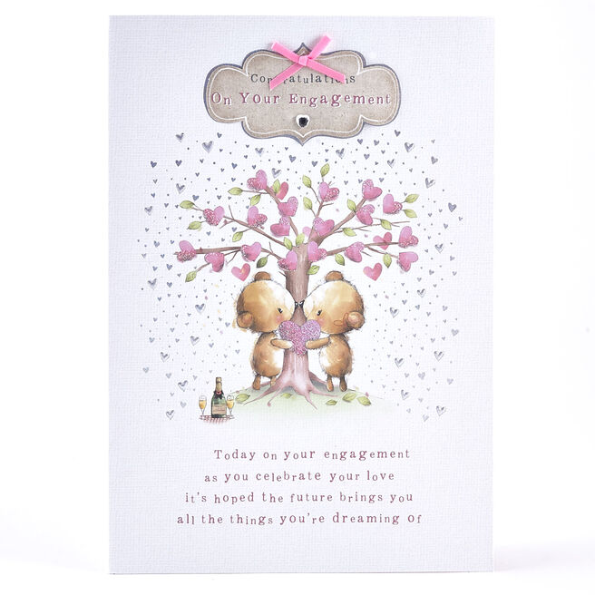 Engagement Card -Bears Kissing Under Heart Tree