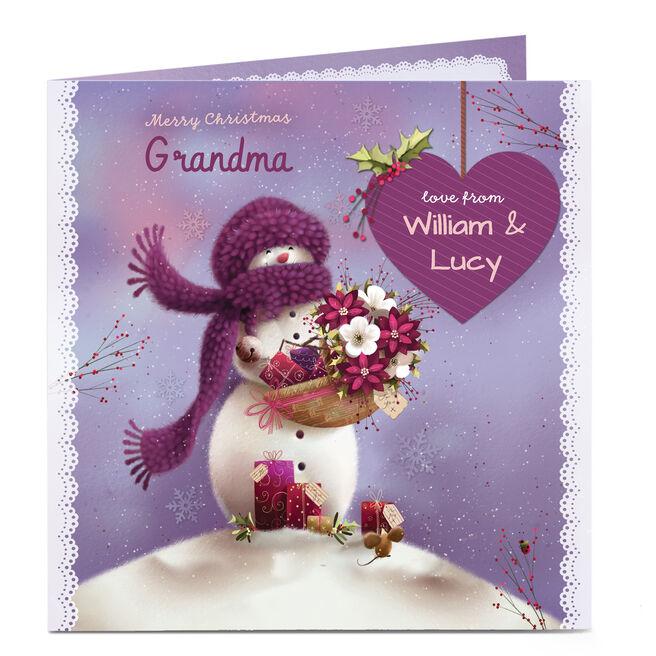 Personalised Christmas Card - Grandma Snowlady