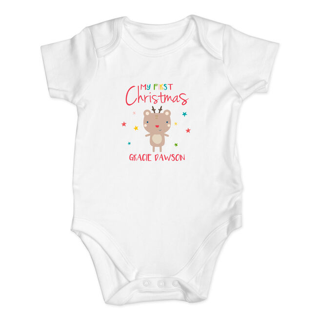 Personalised Baby Onesie - My First Christmas Reindeer