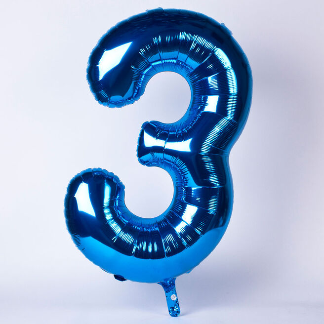 Blue Number 3 Giant Foil Helium Balloon INFLATED