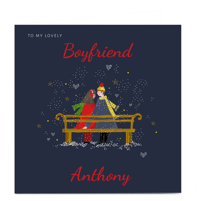 Personalised Kerry Spurling Christmas Card - Couple on Bench