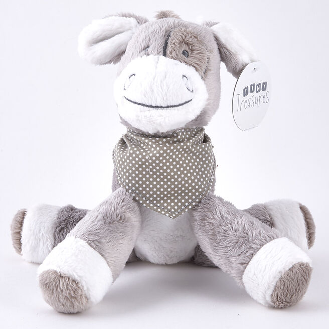 Tiny Treasures - Grey & White Donkey With Neckerchief