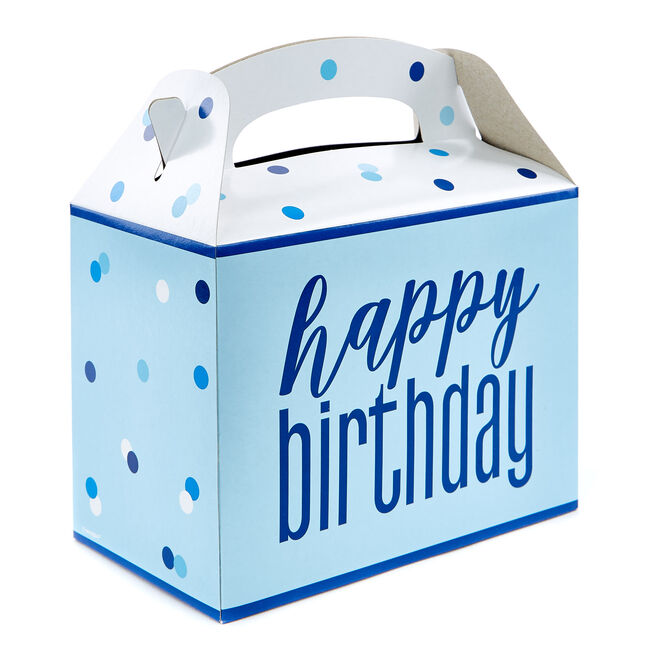Blue Happy Birthday Party Boxes - Pack Of 6
