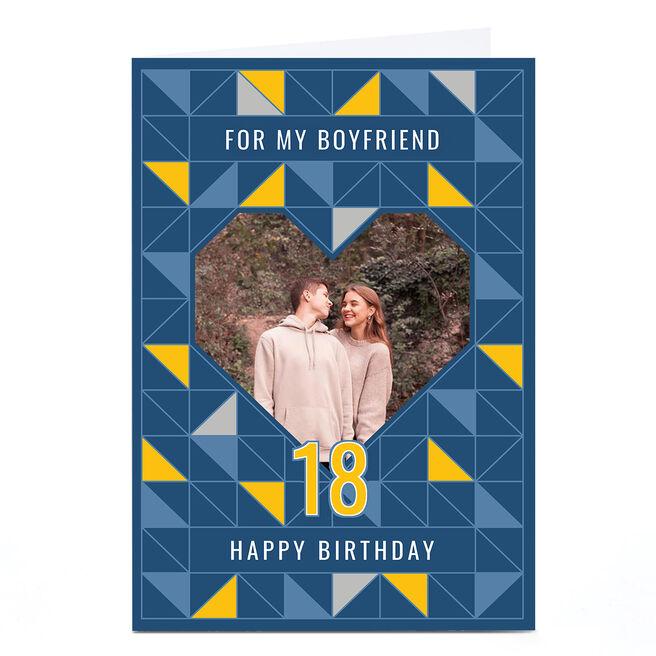 Photo 18th Birthday Card - Geometric Heart, Boyfriend