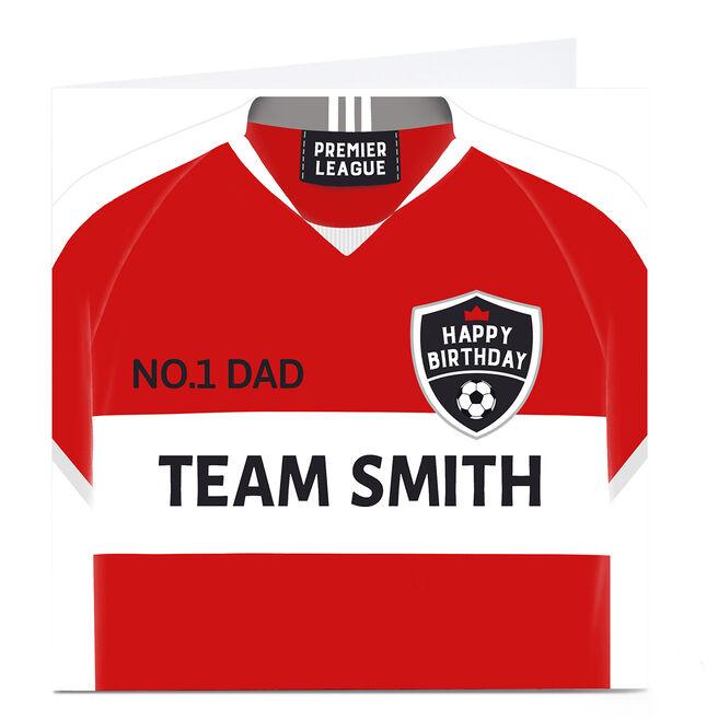 Personalised Birthday Card - Football Shirt Red & White