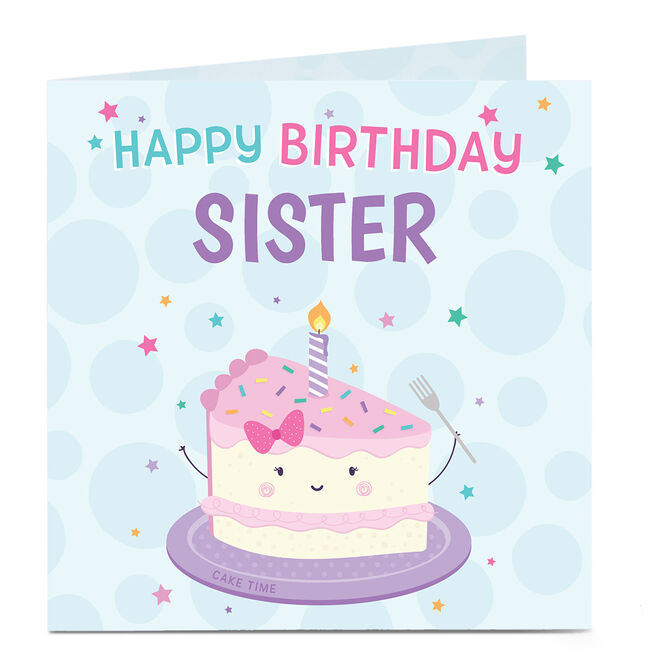 Personalised Birthday Card - Smiling Cake, Any Relation