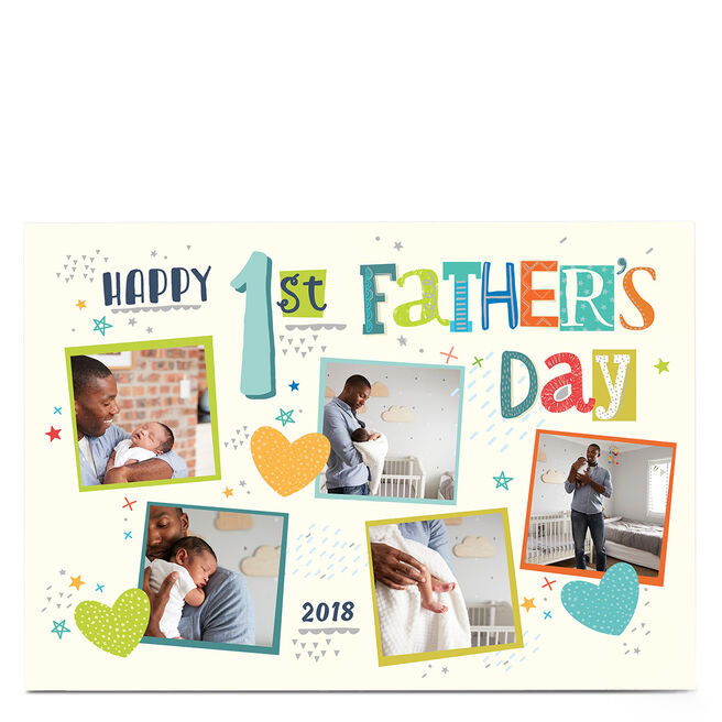 Photo Father's Day Card - 1st Father's Day Hearts