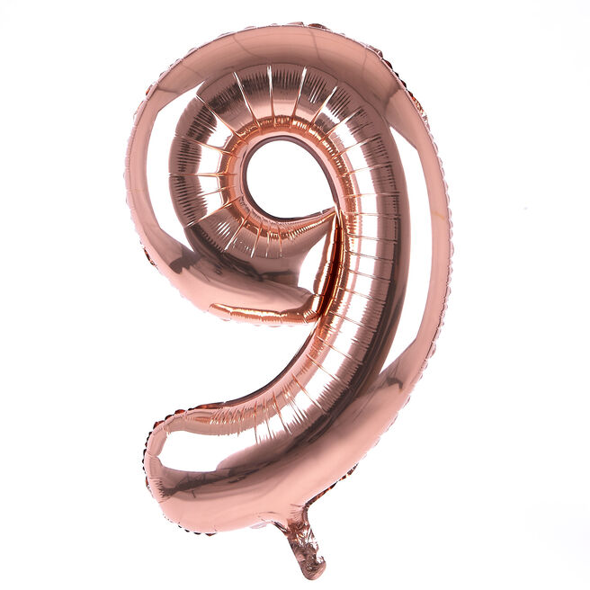 Rose Gold Number 9 Giant Foil Helium Balloon INFLATED