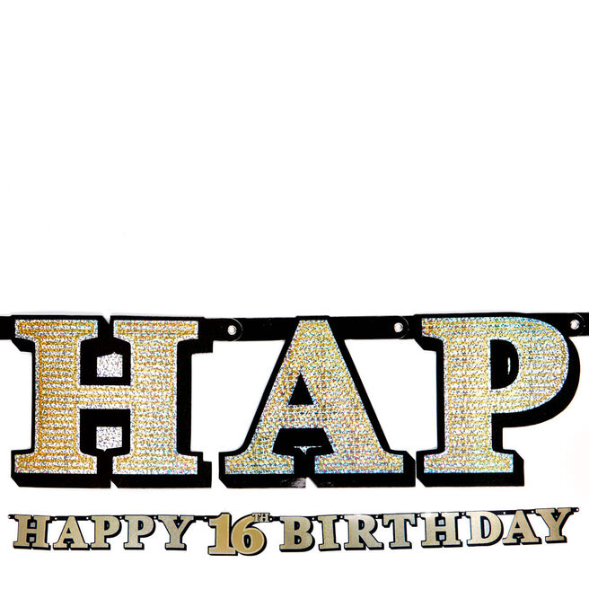 Gold Holographic 16th Birthday Banner