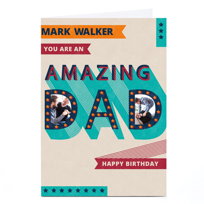 Personalised Kerry Spurling Birthday Card - Amazing Dad