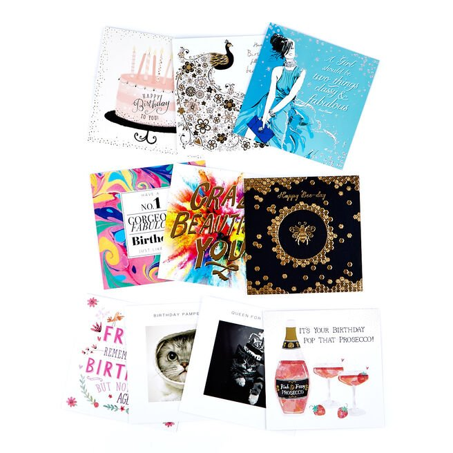 Modern Assorted Female Birthday Cards - Pack Of 10