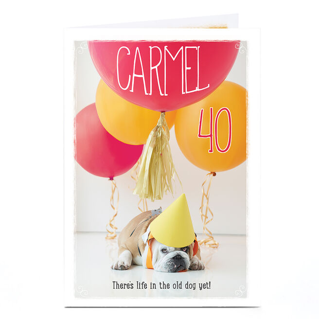 Personalised Any Age Birthday Card - Bulldog & Balloons