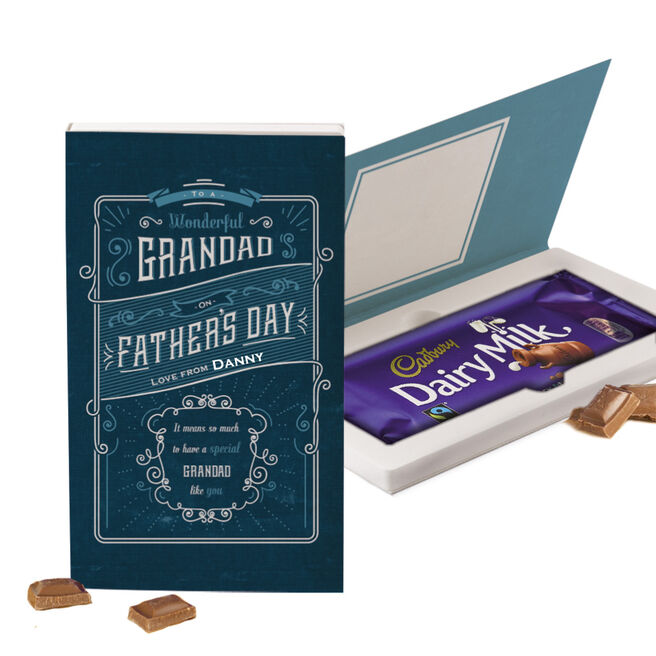 Personalised Cadbury Dairy Milk Chocolate Special Grandad Father's Day Card