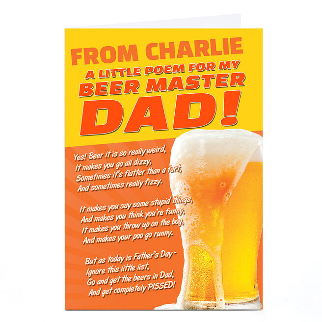 Personalised Emotional Rescue Father's Day Card - Beer Master